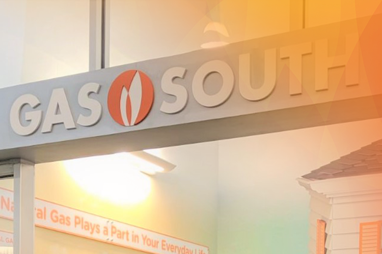 gas south logo on sign outside of a classroom