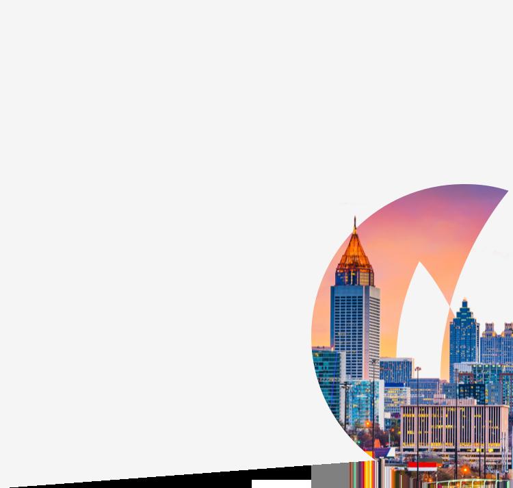 Atlanta city skyline against Gas South logo flame